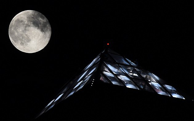 Supermoon over the Luxor Hotel and Casino in Las Vegas