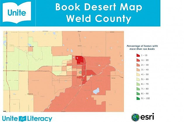 Map showing Weld County is a book desert