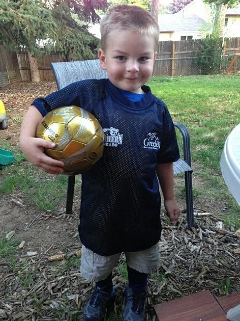 Zander in soccer gear