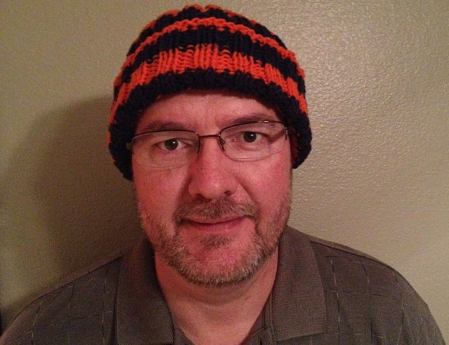 Todd wearing Broncos hat made by his wife