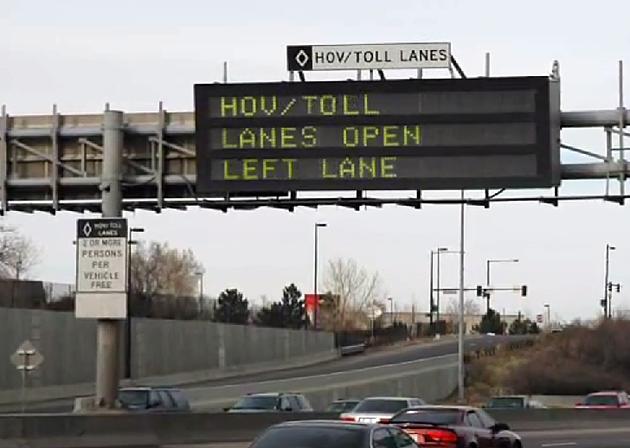 HOV/TOLL Lanes sign on I-25