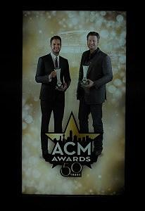 Giant poster featuring ACM Awards Hosts Luke Bryan & Blake Shelton