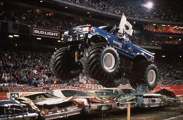 Bigfoot flies over cars during the monster truck rally