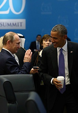 Looks like Vladimir Putin is quite the jokester, too. Here he is making President Barrack Obama chuckle at the G20 Turkey Leaders Summit in November. Anadolu Agency/Getty Images