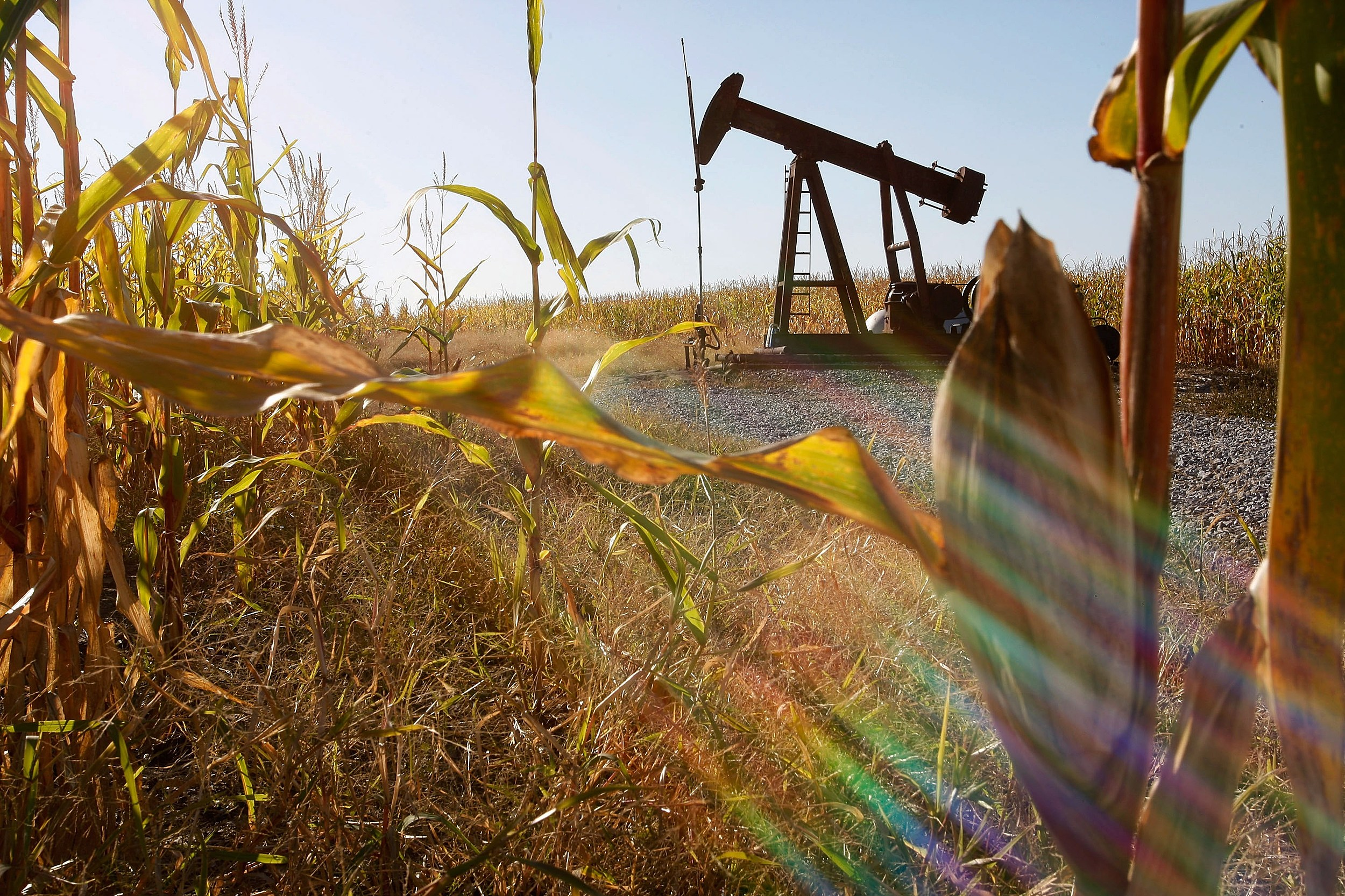 how oil gas has impacted agriculture in northern colorado oil rig in corn field
