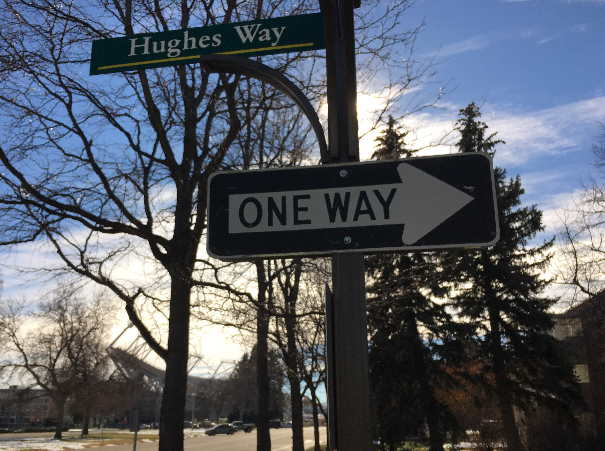 Street on CSU campus named Hughes Way