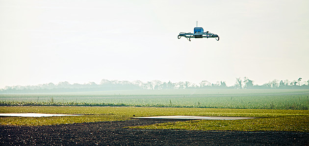 An Amazon Prime Air drone prepares to land at a testing facility in Cambridgeshire.