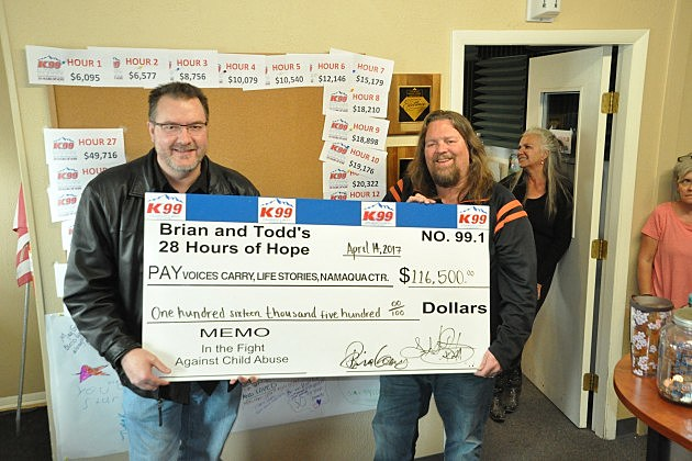 Brian & Todd hold big check after 19th Annual 28 Hours of Hope