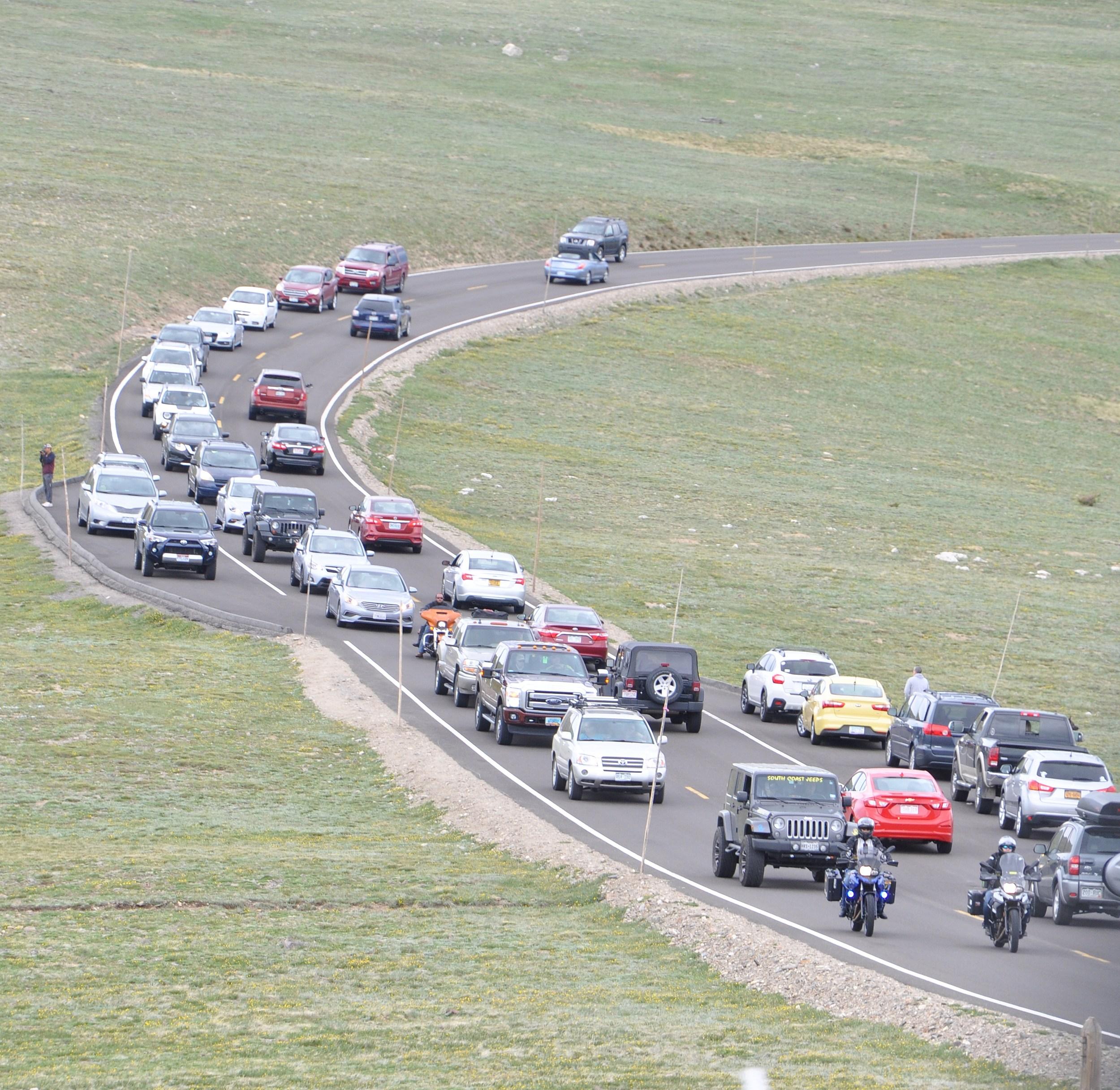 Traffic backed up on Trail Ridge Road