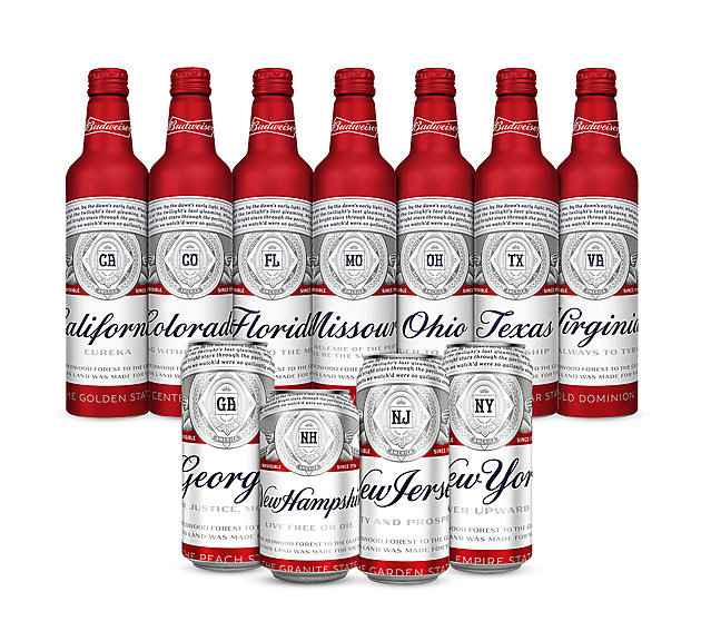 Bud Bottles with State Names