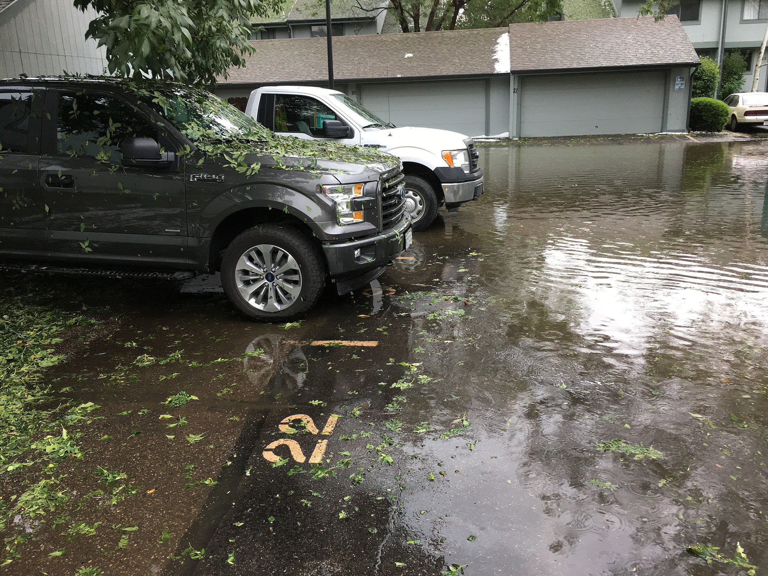 Todd's Parking Lot was Flooded by the Thunderstorm on Thursday